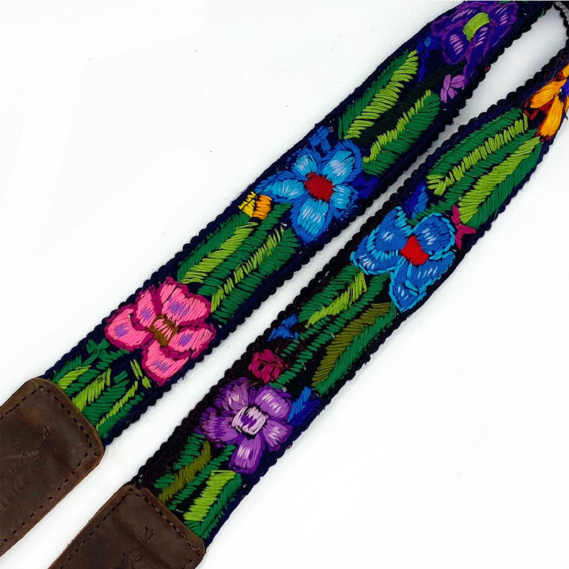 bag strap with blue and pink flowers - The Fox and the Mermaid