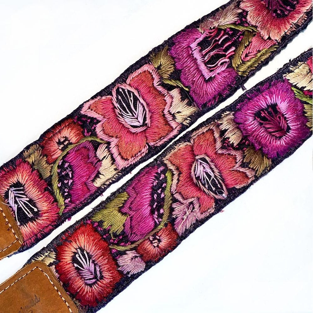 detail of bag strap with floral embroidery - The Fox and the Mermaid