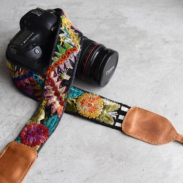 Embroidered Colorful Mayan Camera Strap The Fox and the Mermaid