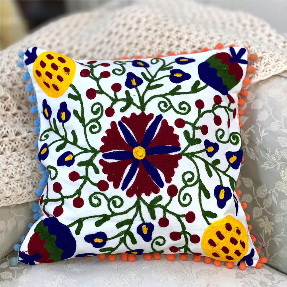 Suzani Embroidered Throw Cushion Cover