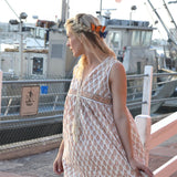 Tan Block Printed Vintage Indian Dress The Fox and the Mermaid