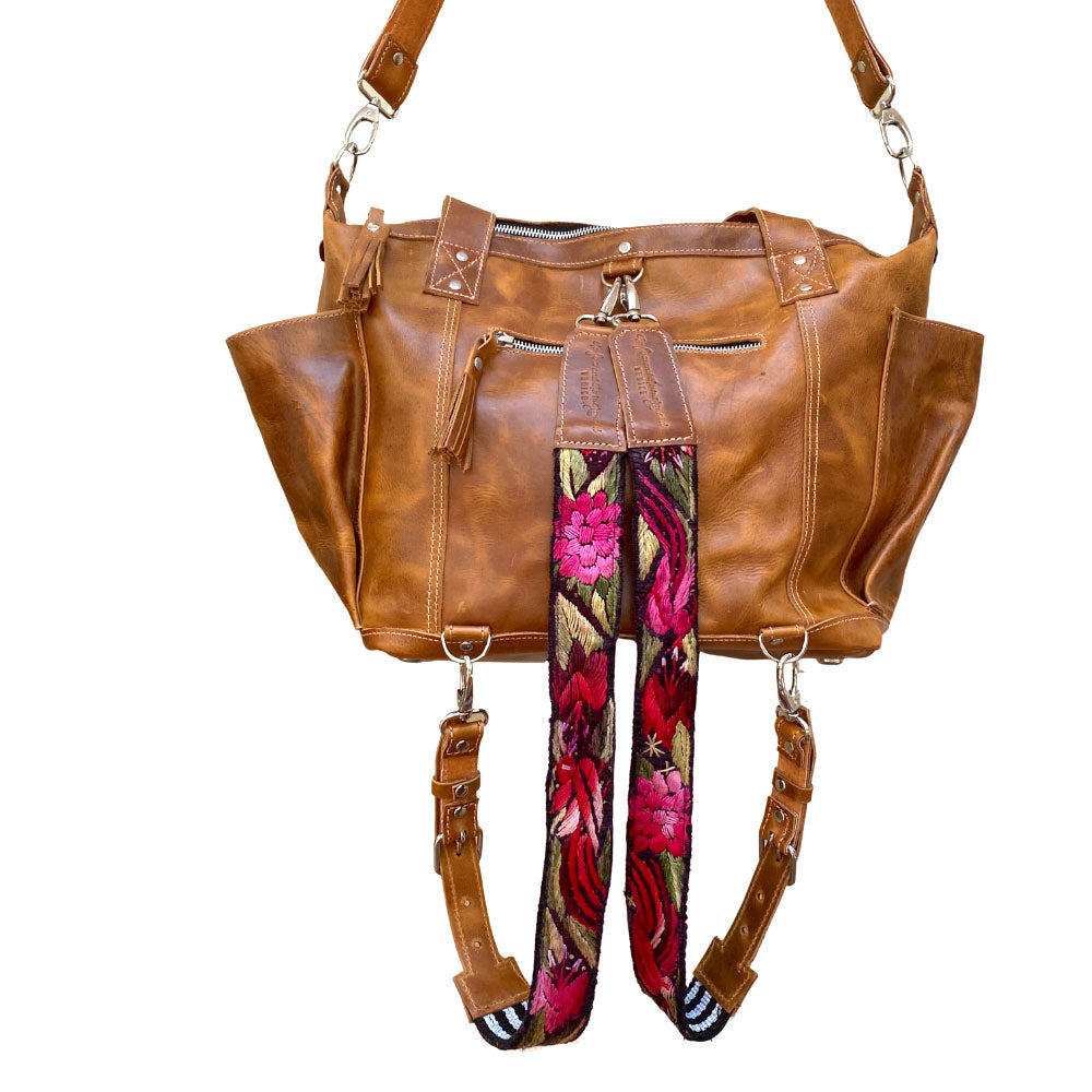 tan leather convertible 3 way bag - The Fox and the Mermaid