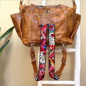 tan leather bag with embroidered floral straps  backpack - The Fox and the Mermaid