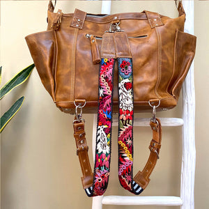 Convertible Tan Leather Bag with Embroidered Straps (Medium)