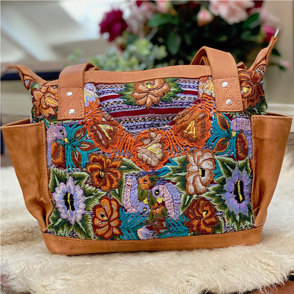 embroidered huipil bag with lavender birds - The Fox and the Mermaid
