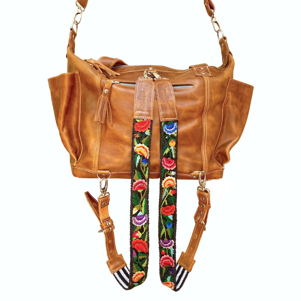 Tan top grain convertible leather bag - The Fox and the Mermaid