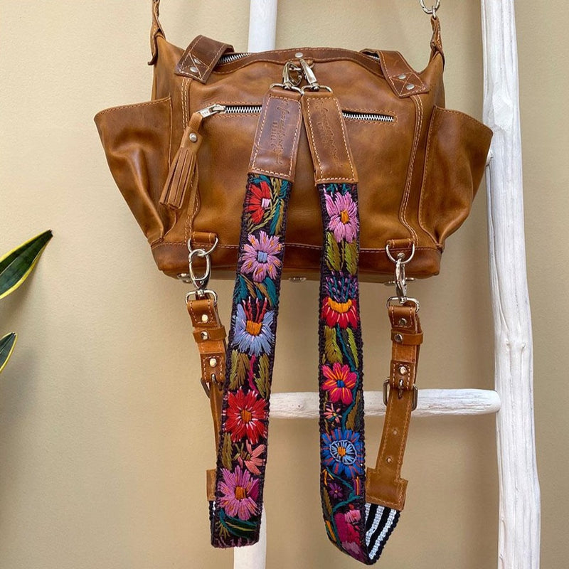 Tan full leather guatemalan shoulder bag and  backpack - The Fox and the Mermaid
