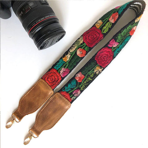 Leather Embroidered Strap (Gold Hardware)