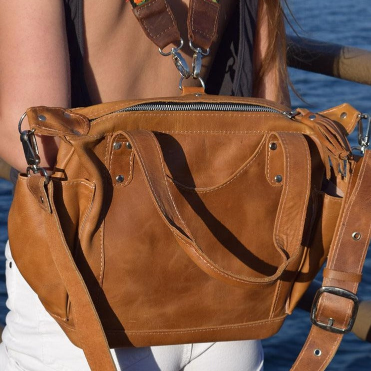 Tan Full Leather backpack Bag - The Fox and the Mermaid