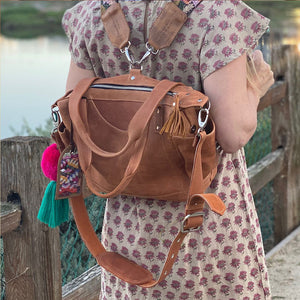 tan leather mini  backpack - The Fox and the Mermaid
