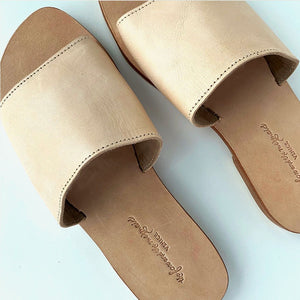 tan Leather slides The Fox and the Mermaid