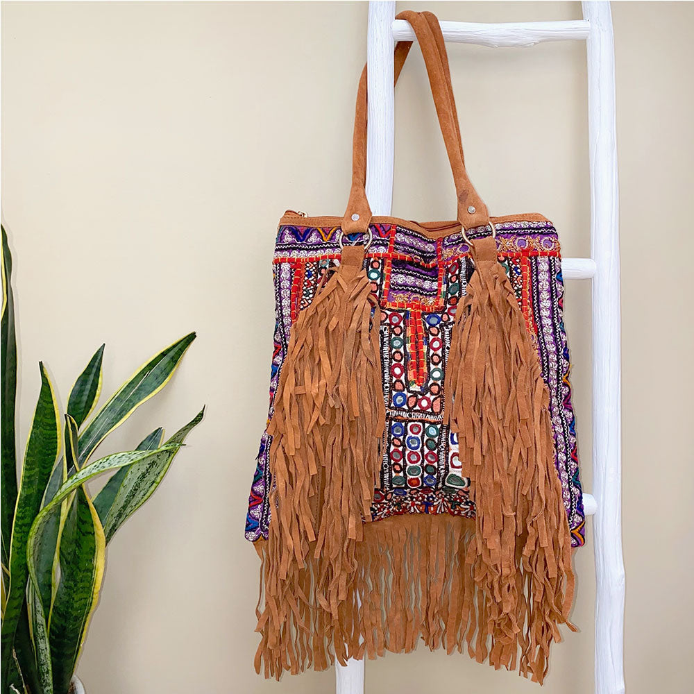 India bag made with tribal embroidery and fringe - The Fox and the Mermaid