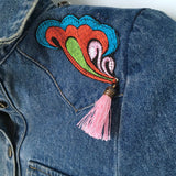 jean jacket embroidered hippie style