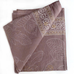 taupe block printed sarong with gold borders  - The Fox and the Mermaid