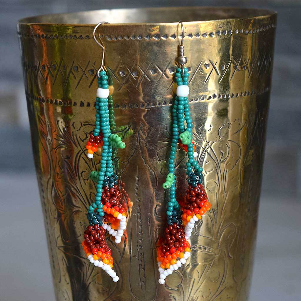Beaded Huichol Earrings - The Fox and The Mermaid