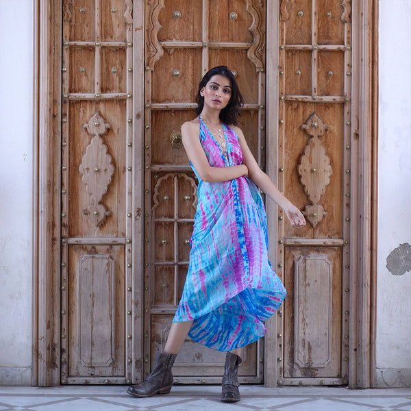 turquoise and pink tiedye silk dress The Fox and the Mermaid