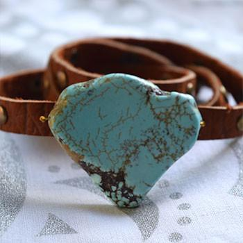 Studded Leather Wrap Bracelet with Turquoise Stone - The Fox and The Mermaid - 2