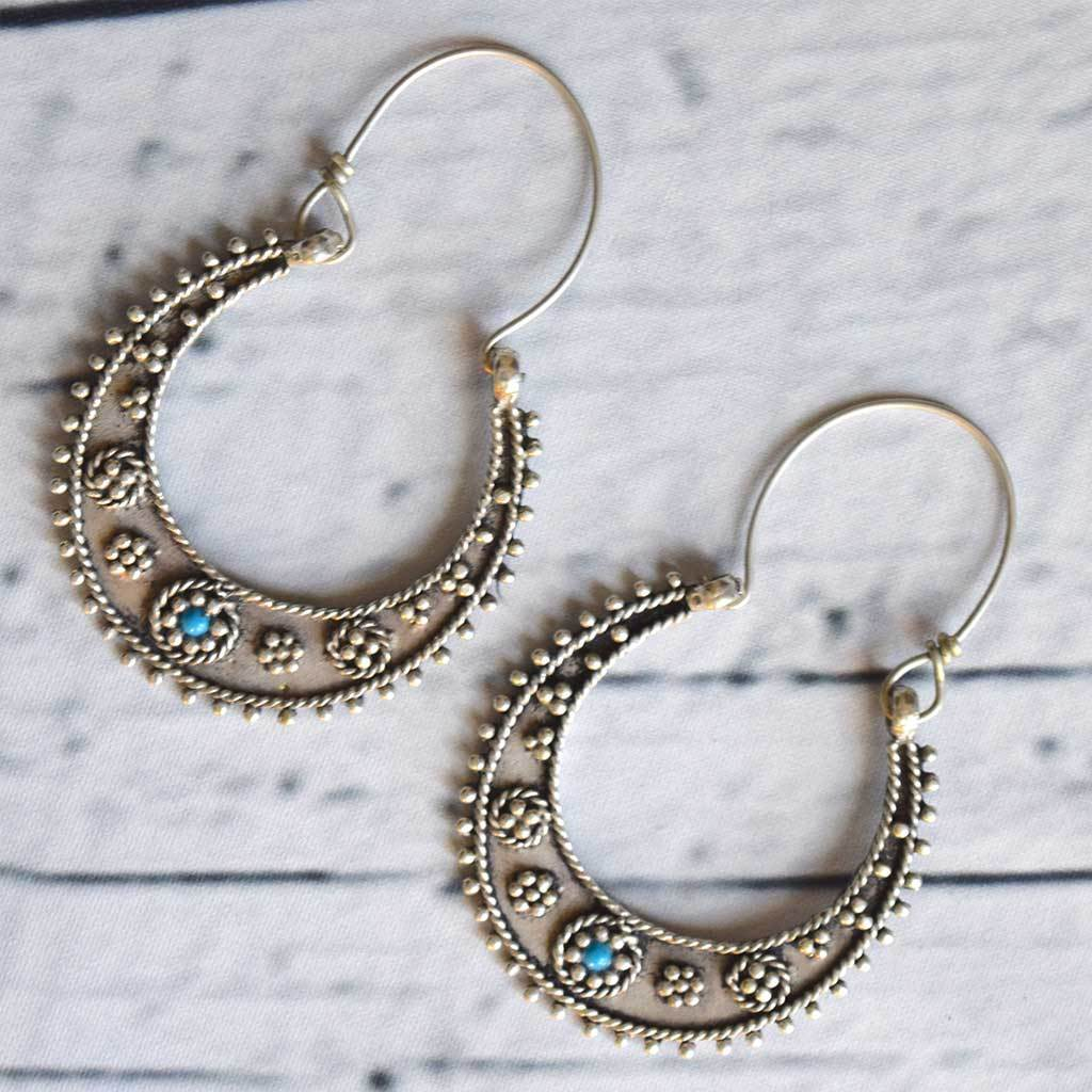Silver Tribal Earrings with Turquoise Stone The Fox and the Mermaid