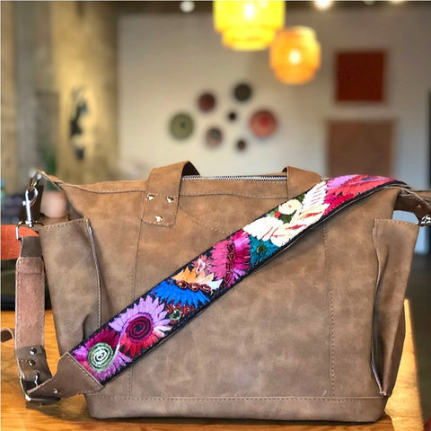 Vegan Leather Mayan Bag with Embroidered Strap