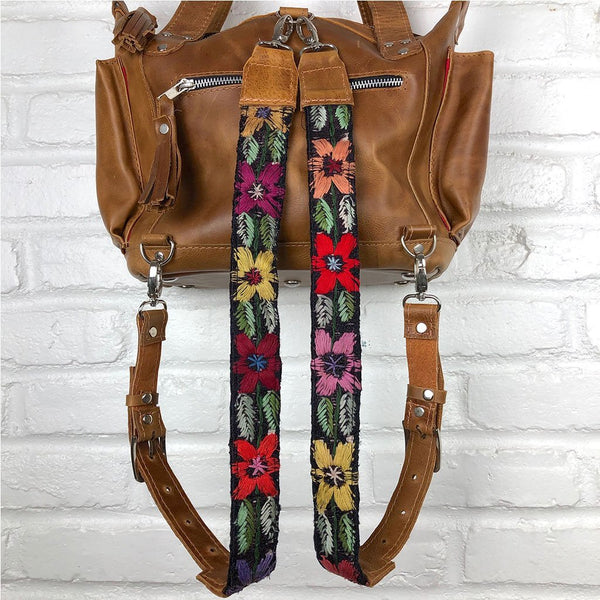 Floral embroidered backpack straps The Fox and the Mermaid