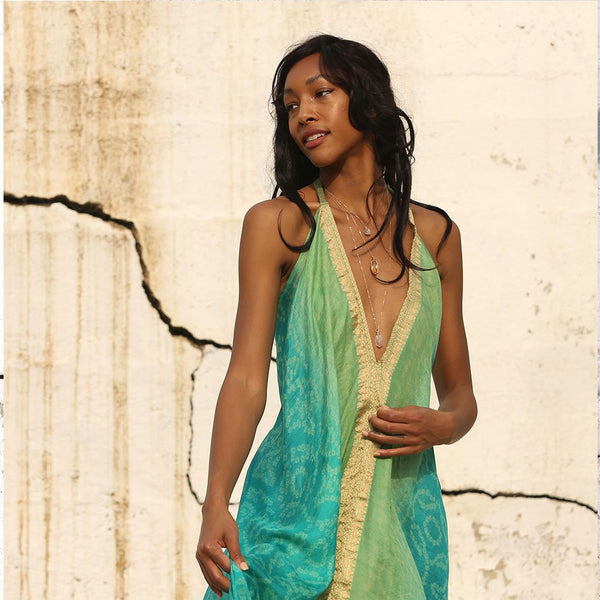 Green and Gold Tie Dye Silk Dress The Fox and the Mermaid