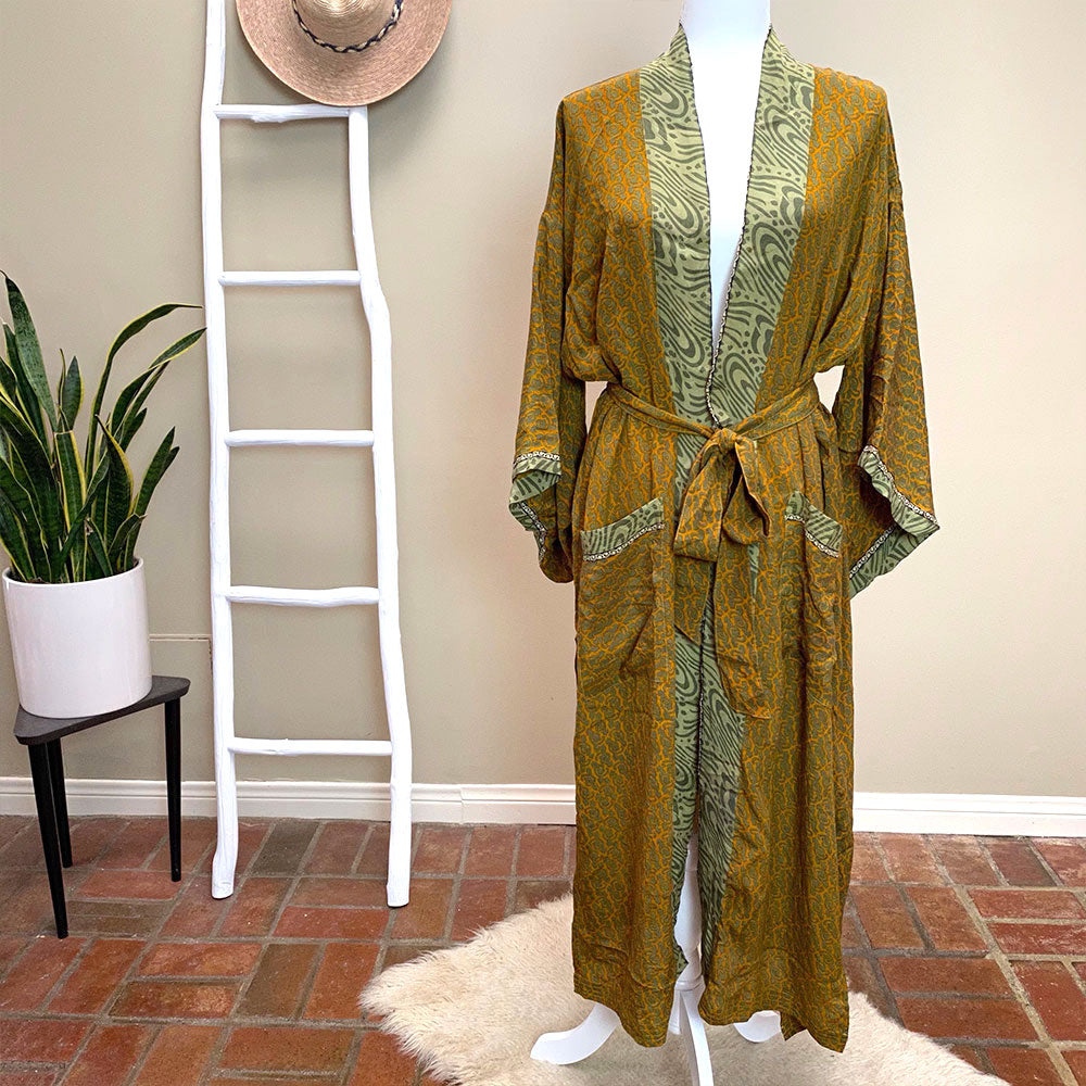 mustard and green vintage robe kimono  - The Fox and the Mermaid