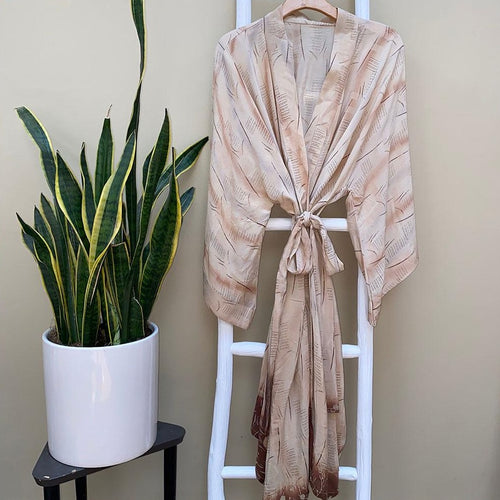Brown and beige vintage silk indian kimono The Fox and the mermaid