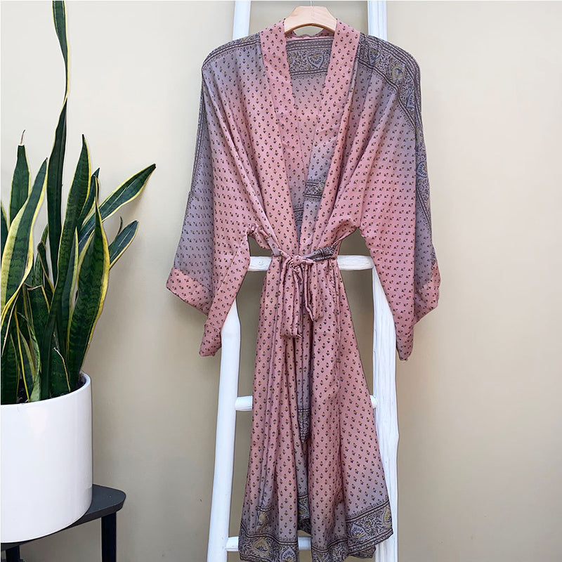 Pink and Gray Indian Silk Robe - The Fox and the Mermaid