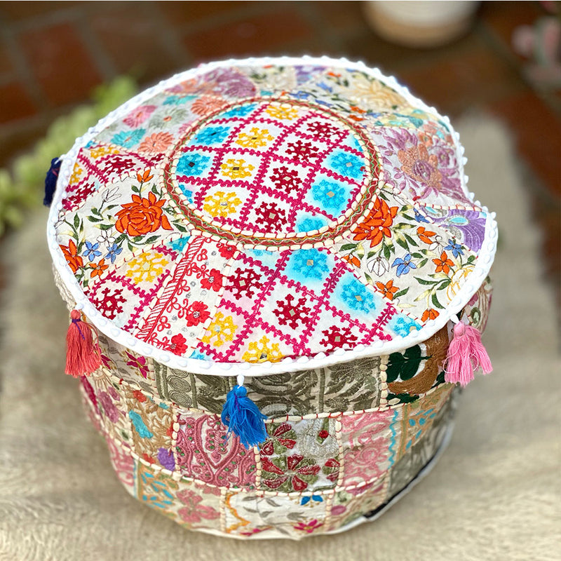 embroidered handmade indian pouf cover - The Fox and the Mermaid