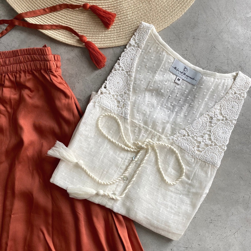 Cotton lace bogo blouse with tassels - The Fox and the Mermaid