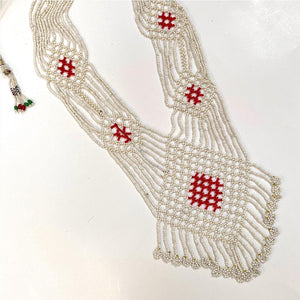 Red and White Handmade Beaded Necklace - The Fox and the Mermaid