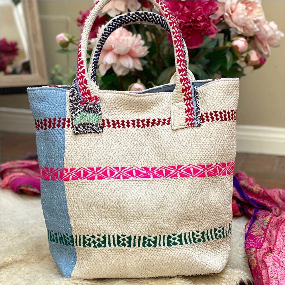 green pink and white vintage kantha shoulder bag - The Fox and the Mermaid