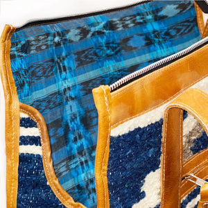 blue ikat dog bag lining - The Fox and the Mermaid