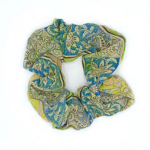 Yellow and blue vintage silk scrunchie - The Fox and the Mermaid