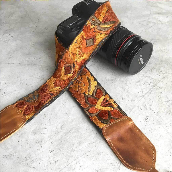 Yellow and Brown Embroidered Camera strap The Fox and the Mermaid