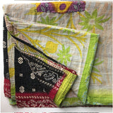 Green palm tree quilt kantha The Fox and the Mermaid
