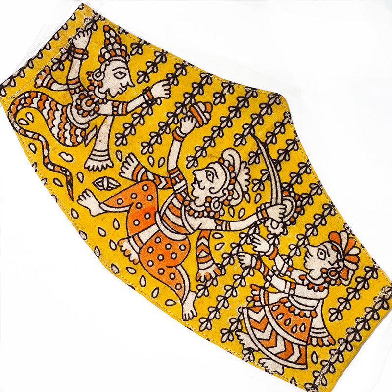 Yellow and orange hand painted indian mask - The Fox and the Mermaid