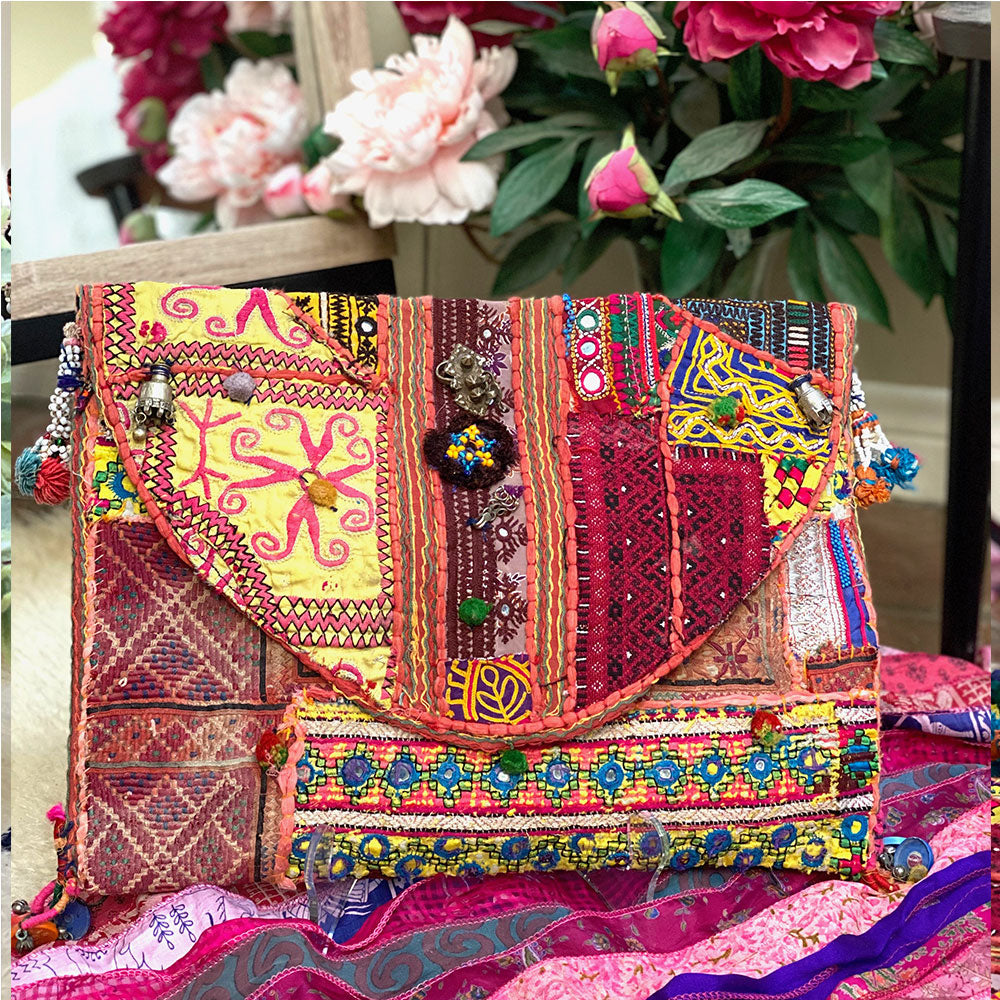 Pink and yellow embroidered vintage clutch from india - The Fox and the Mermaid