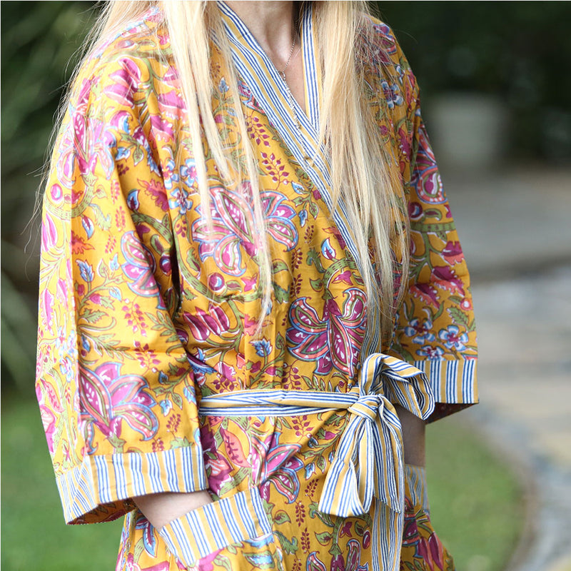 block printed details on yellow and pink robe  - The Fox and the Mermaid
