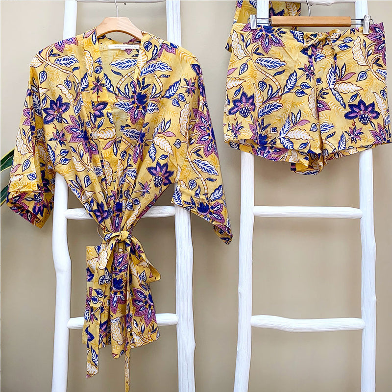 yellow floral block printed cotton voile Kimono and shorts - The Fox and the Mermaid