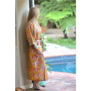 yellow cotton hand printed indian robe  - The Fox and the Mermaid