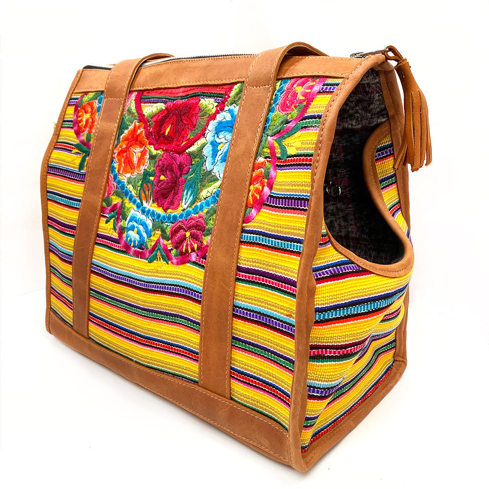 yellow floral embroidered guatemalan bag for dogs - The Fox and the Mermaid