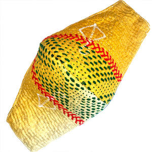 Yellow kantha mask with red and green stitching - The Fox and the Mermaid