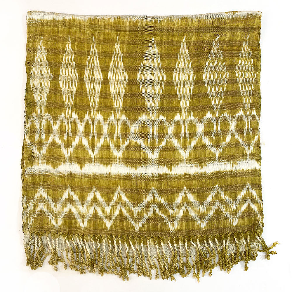 Handwoven Guatemalan Shawl and Scarf: Chartreuse