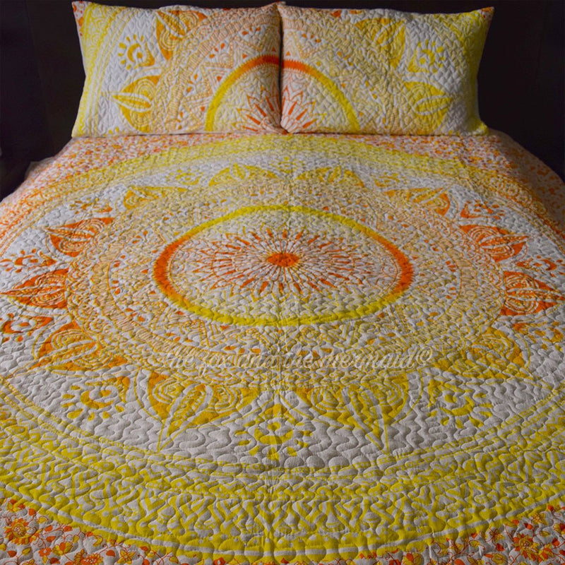 Yellow Ombre Mandala Quilt - The Fox and The Mermaid - 1