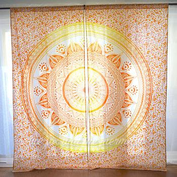 Yellow Ombre Mandala Tapestry Curtains