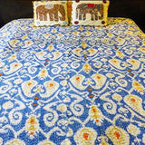 Sky Blue Ikat Kantha Quilt - The Fox and The Mermaid - 4