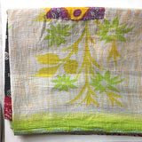 yellow and green kantha quilt The Fox and the Mermaid