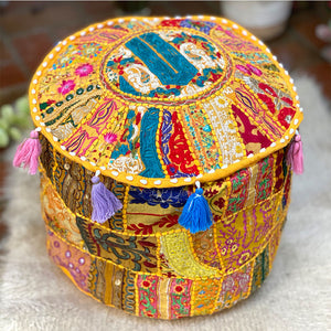 indian hand embroidered pouf cover - The Fox and the Mermaid