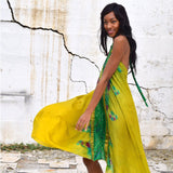 Green tie-dye silk dress The Fox and the Mermaid